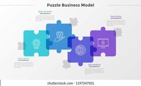 Four translucent jigsaw puzzle pieces with thin line icons inside placed into horizontal row and intersected. Concept of 4-stepped business challenge. Infographic design template. Vector illustration.