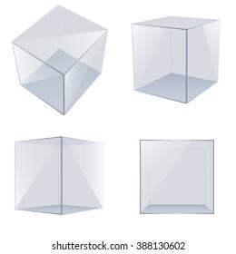 Four transparent glass cubes. Vector Illustration