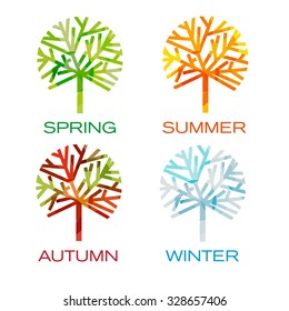 Four trees as seasons. Spring, summer,autumn and winter