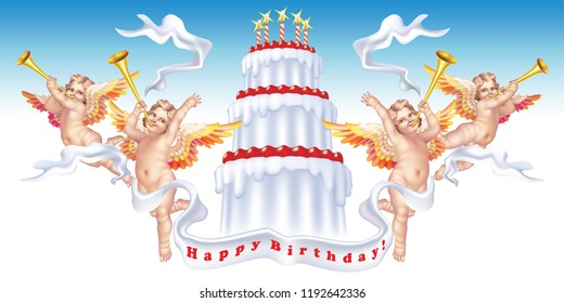 Four trumpeting cherubs with a birthday cake