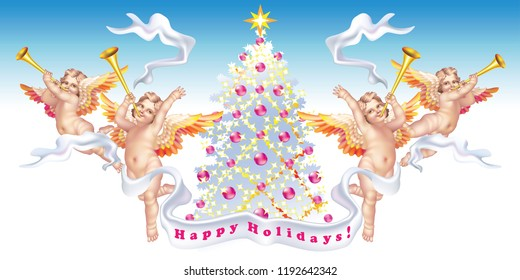 Four trumpeting cherubs with a Christmas tree