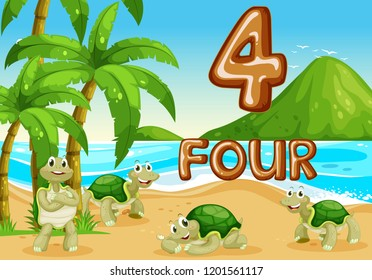 Four turtle at the beach illustration
