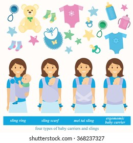 Four types of baby carriers and slings: sling ring, ergonomic baby carrier, mei tai baby carrier, sling scarf. Baby supplies.Vector illustration