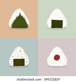 Four types of onigiri (Rice balls). Japanese cuisine. Illustration. Lunch. Onigiri with shiso leaf, nori seaweed, sesame seeds and pickled plum. Can be used as seamless pattern.
