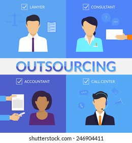 Four types of outsoursing for business start-up. Lawer, consultant, accountant, call center operator