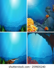 Four underwater scenes with fish and coral reef
