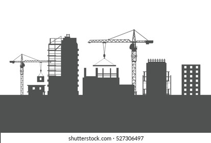 Four unfinished buildings silhouettes. Industrial cranes. Process of building. Big cranes holding special elements. Various kinds of houses. Illustration of construction. Cartoon design. Vector