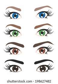 four variants of different color eyes
