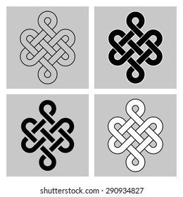 bbd56371a Four variants of the Endless Knot. Sacred symbol of the rebirth's  concatenation in the Buddhism
