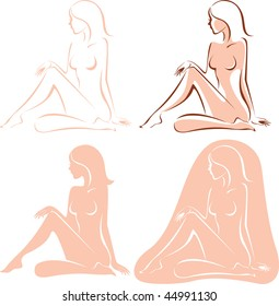 Four variations of beautiful nude woman silhouette
