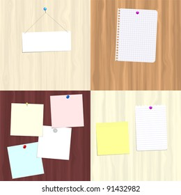 Four variations of wooden boards with attached notes for use as copy space