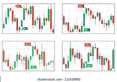 Four Various Types of Japan Candlestick Business Charts
