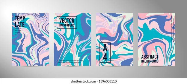 Four vector abstract background A4. Marble texture. Fluid art. Liquid mixed paint colors pink, blue, white. Colorful liquid. Template for poster, card, brochure, invitation, cover book catalogue