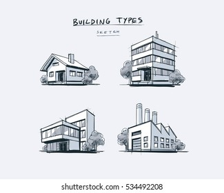 Four vector buildings sketch drawings in perspective view with trees. Family house, work office and factory building. Hand drawn cartoon vector illustration.