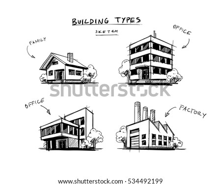 d9bd4fc8889c Four vector buildings sketch drawings in perspective view with trees.  Family house, work office
