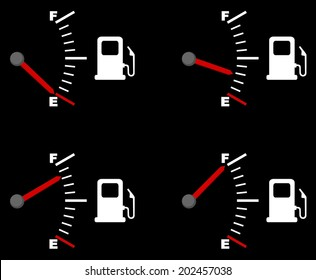 Four vector drawings depicting a fuel gauge. full and empty petrol gauge (gas tank, gas gages), vector art image illustration, isolated on black background