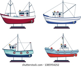 four vector fishing boats, side view, flat graphic