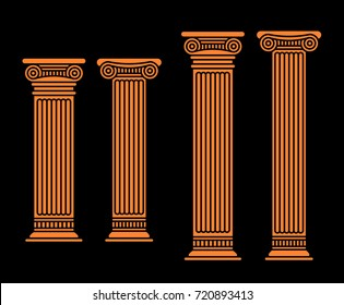 Four vector flat orange antique columns. Two short and two long