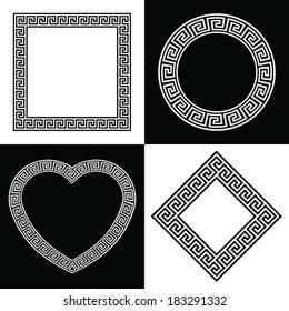 Four Vector Greek Key Border Frame Shapes