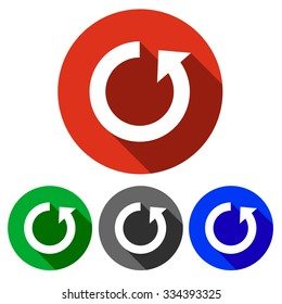 Four vector icons in red, blue, green and black with a shadow sign reboot