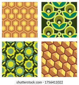 Four vector patterns for fabrics or wallpaper