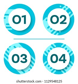 Four vector round buttons with numbers options template