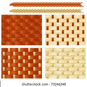 Four vector seamless backgrounds with patterns of basketry of Wickers