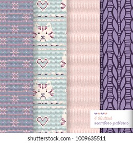 Four vector seamless knitted pattern for backgrond with pale colors, one with stitched cat