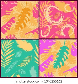 Four vector seamless pattern with monstera and palm leaves. Modern jungle background for wallpaper, fabric, prints, cards, packaging. Summer illustration with Tropical exotic leaves.
