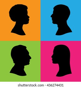 Four vector silhouettes of human head in profile. Two women and two men of various races and ethnic groups. Black isolated silhouettes on color background.
