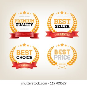 "Four vector vintage badges collection ""Best choice"", ""Premium quality"", ""Bestseller"", ""Best price"""