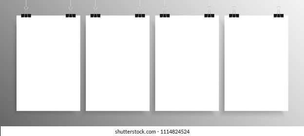 Four Vertical Posters Mockup A4. White Sheets Background. 4 Posters on the Wall. Vector Blank Empty Rectangle Grey Background. Mockups. Mock-up. 4 Posters Banners Mockups.