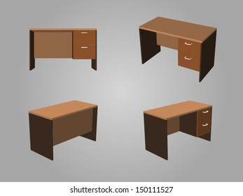 Four View of Brown tone office table made from wood