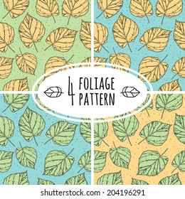 Four vintage vector foliage and leaf seamless patterns