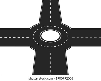 Four way crossroad with round platform in center . Black highway with intersection and road markings traffic speedway with finding right vector life direction.