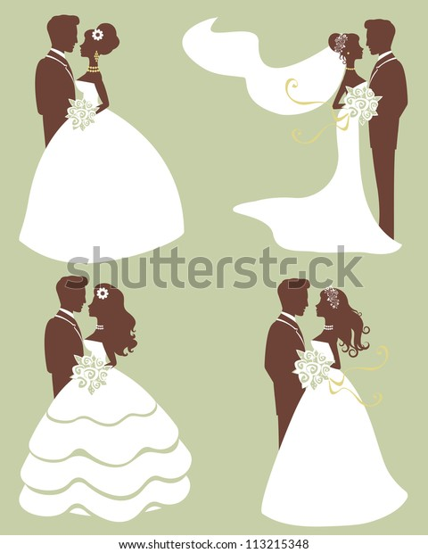 Four wedding couples in silhouette