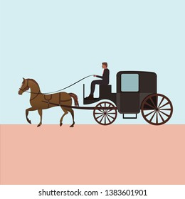 Four wheeled carriage or Coach with horse
