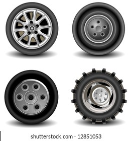 Four wheels of different kinds to vehicles, machines, car, a vector an illustration