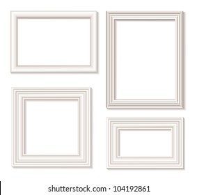The four white isolated picture frames with shadow