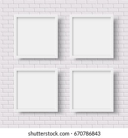 Four white square empty frames on white brick wall. Photoframe mock up.Vector illustration. Realistic vector template for posters or photos