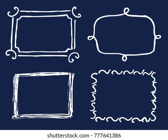 Four white template cards vector illustration of hand drawing cadres, set of rectangles, minimalist style, various lines, isolated on dark background