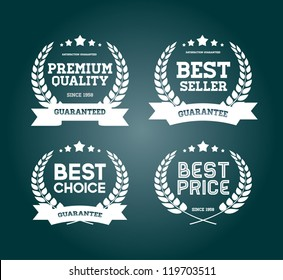 "Four white vector vintage badges collection ""Best choice"", ""Premium quality"", ""Bestseller"", ""Best price"""