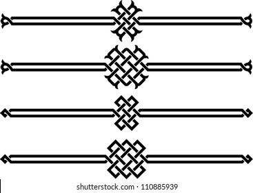 Four wicker ornaments on a white background vector illustration