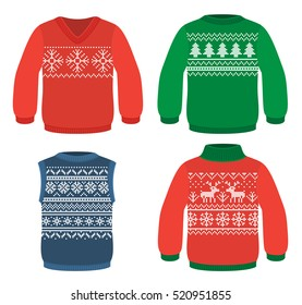 Four winter warm sweaters with Christmas patterns, snowflakes, christmas tree and deers
