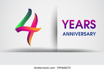 four years Anniversary celebration logo, colorful design logotype isolated on white background, vector elements for celebrating 4th birthday party