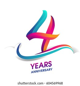 four years anniversary celebration logotype blue and red colored. 4th birthday logo on white background.