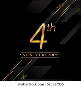 four years anniversary celebration logotype. 4th anniversary logo golden colored isolated on black background, vector design for greeting card and invitation card.