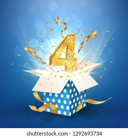 Four years anniversary open gift box of polka dots with explosions confetti. Template 4 fourth birthday celebration on blue background vector Illustration