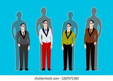 Four young people with shadows. Business guys are standing next to each other. Shadows behind them. Concept for business, friendship, teamwork, presentation, community, infographics. Vector flat style