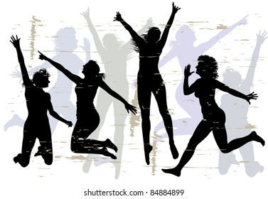 Four young slender womans jumping with joy. Silhouette.